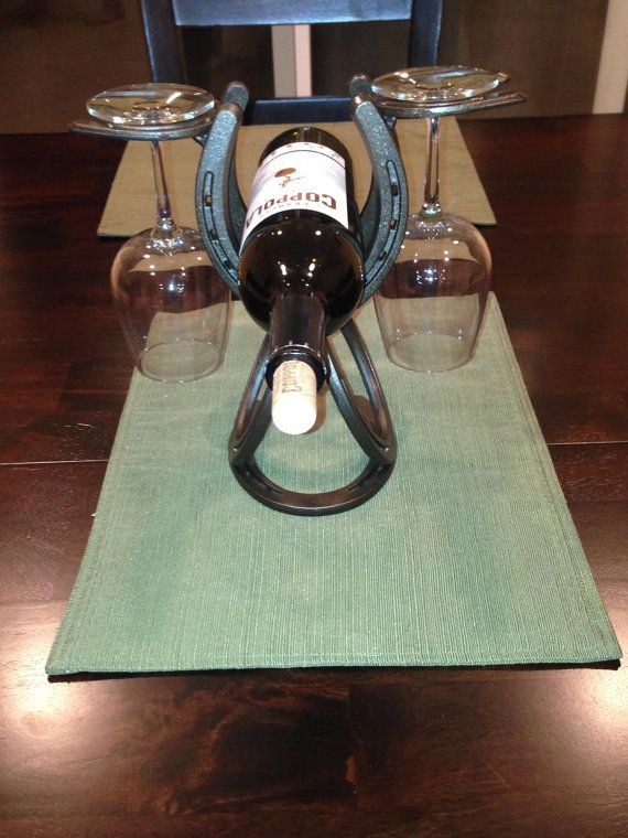 Single wine Bottle hold that hold's2 wine glasses.  These is a perfect center piece onyour dinning room table or home bar. on Etsy, $52.00