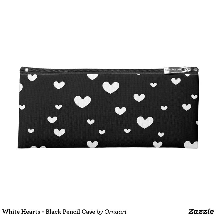 White Hearts - Black Pencil Case