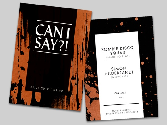 Flyer for Zombie Disco Squad at Hotel Shanghai, Essen.