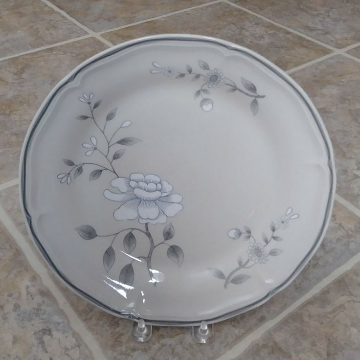 Gray farmhouse decorative plate for sale at Frugal Fortune in our online Etsy shop.