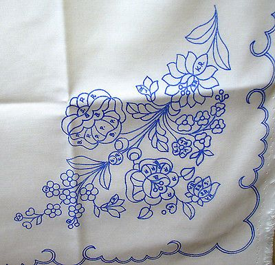 Hungarian Kalocsa folkart stampd embroidery SQ TABLECLOTH carnation rose Hungary