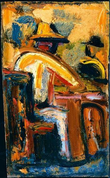 Mario Sironi - I BEVITORI, olio su tela