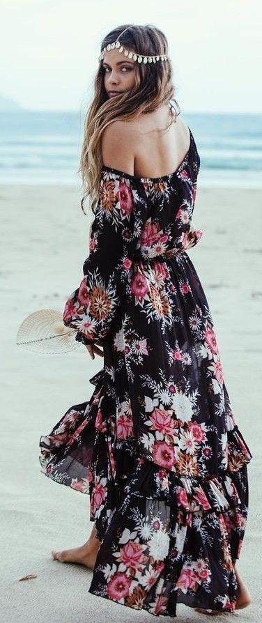 #summer #fashion #outfitideas Black Floral Maxi Dress