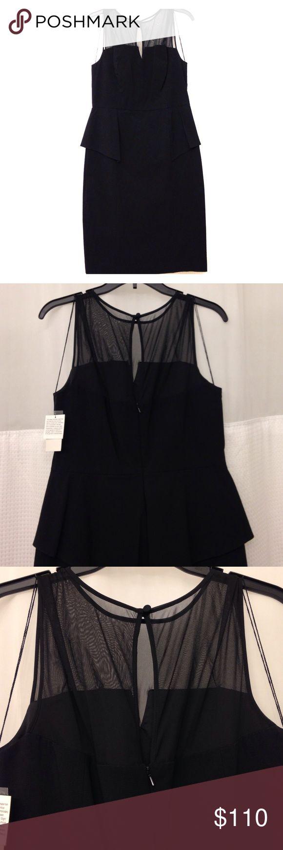 Aidan Mattox dress Black peplum dress with sheer top detail, back zipper, classy! Aidan Mattox Dresses Midi