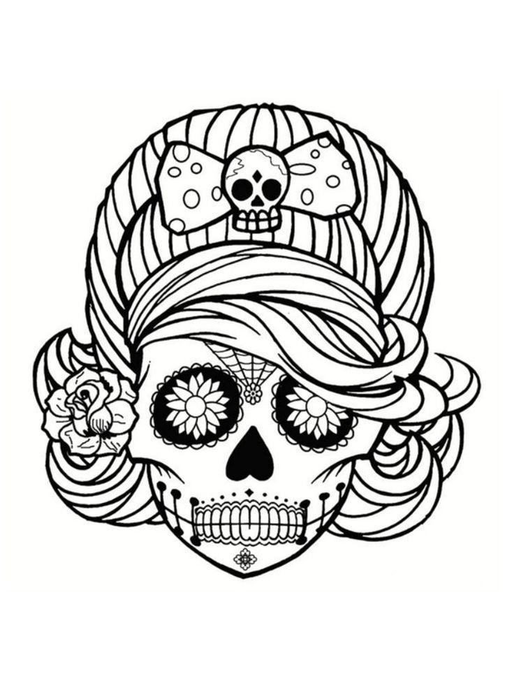 Coloriage tête de mort mexicaine : 20 dessins à imprimer | Coloriage tête de mort, Coloriage ...