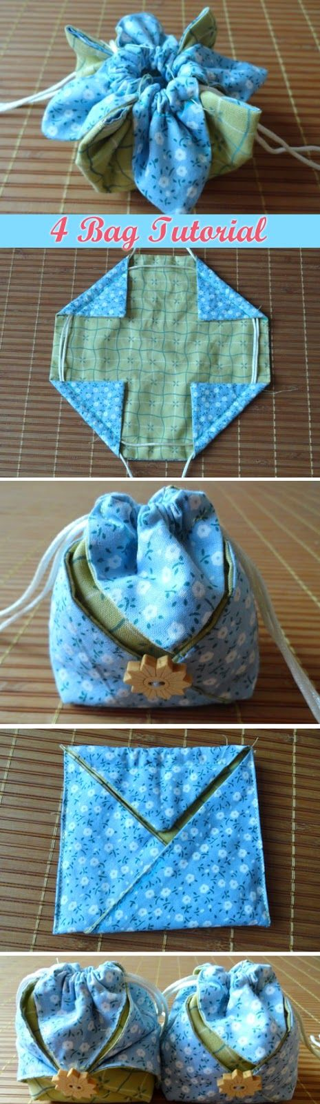 Gift Drawstring Bags, Little Pouches. 4 Sewing Variant Photo Tutorial. http://www.handmadiya.com/2016/02/omiyage-gift-pouch-4-tutorial.html