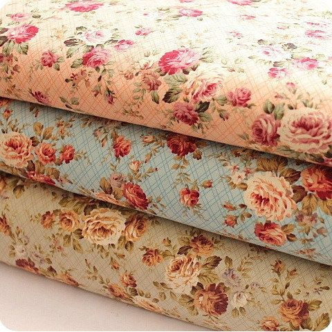 "Flower Fabric/ Cotton Fabric/ Shabby chic/ Flower Cotton/ Green Pink Blue Fabric/ Spring Fabric/ Rose Fabric - 1/2 yard 18'X59"". $4.80, via Etsy."