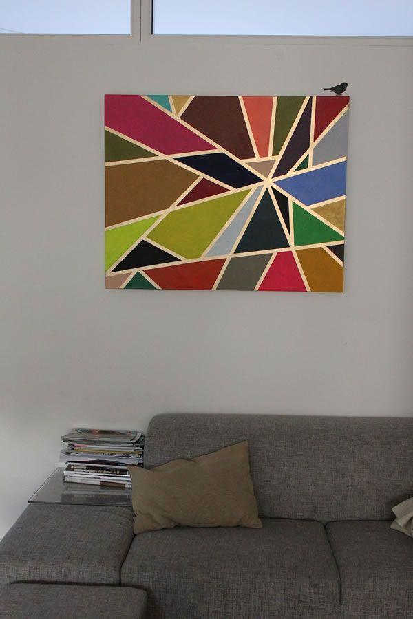 Aprende a hacer un bonito cuadro geométrico para decorar tu sala...