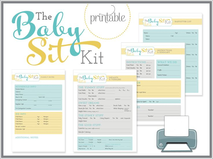 """In this category because the first thing I think of when i see this is """"OCD parenting much?"""" But, I guess if you're a helicopter parent . . .Babysitter printable kit"""