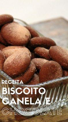 Biscoito de canela e chocolate Biscoitos caseiros de canela e chocolate que ficam prontos em poucos minutos e que são simplesmente deliciosos.