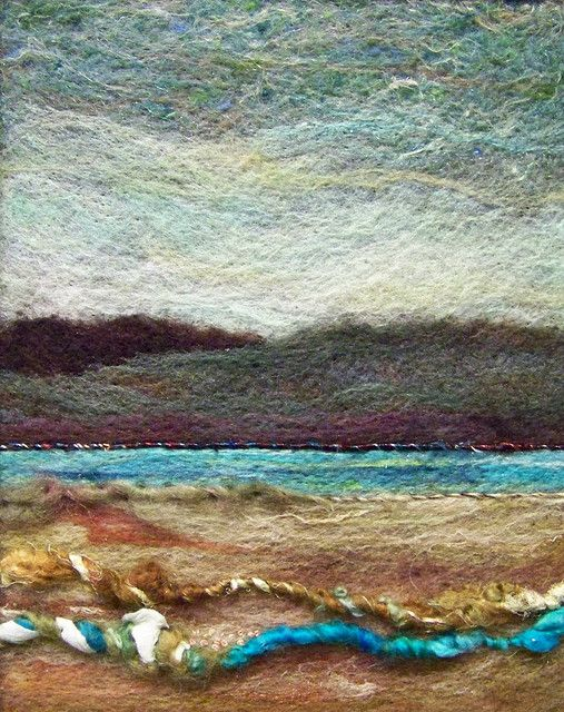 #245 Warm Water  8 x 10 needlefelt wool on felt with art yarns from www.hollyeqq.com