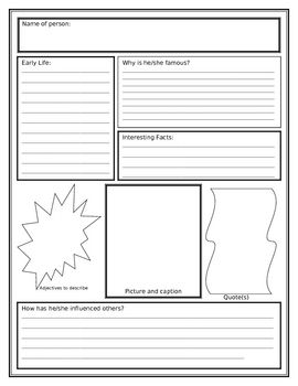This poster can be used to create a snapshot of a person's life after a biography research project is complete.  After students research someone ...