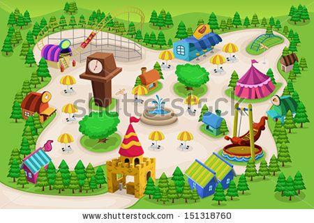 simple amusement park map - Google Search