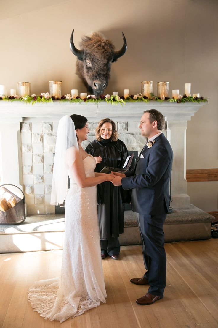Winter wedding in front of the fireplace