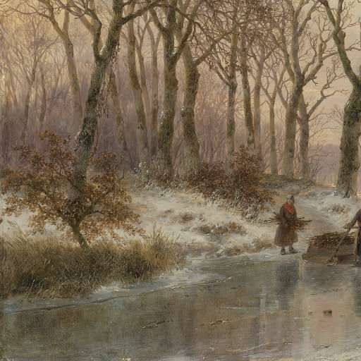 A Frozen Canal near the River Maas, Andreas Schelfhout, 1867 - Search - Rijksmuseum...........lbxxx.