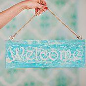 Для дома и интерьера ручной работы. Ярмарка Мастеров - ручная работа Панно мятного цвета Welcome. Handmade.