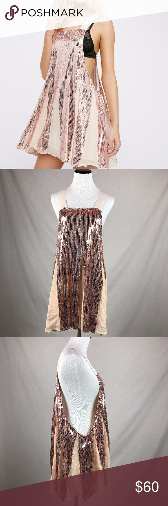 """NEW Free People Shimmering Lines Sequined Dress *NEW WITHOUT TAGS*  Mark on one shoulder strap. tags have been blacklined to prevent store return  Free People Shimmering Lines swing dress in beautiful rose gold. This dress is perfect for a night out or special event!!  Size Small  armpit to armpit-23"""" overall length-32.5""""  I257 Free People Dresses Mini"""