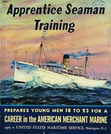 Apprentice seaman training: prepares young men 18 to 23 for a career in the American Merchant Marine Artist: John D. Wisinsky, 1941