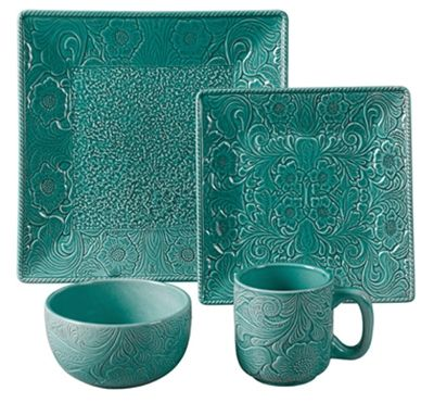 Savannah Dinnerware features a detailed raised relief tooled leather design in a high gloss finish of red, turquoise or mustard yellow. It will be the highlight of your rustic table setting. The easy care stoneware is dishwasher, oven and microwave safe. Add one of the many styles of chargers, faux leather placemats or table runners to complete your rustic dining table.