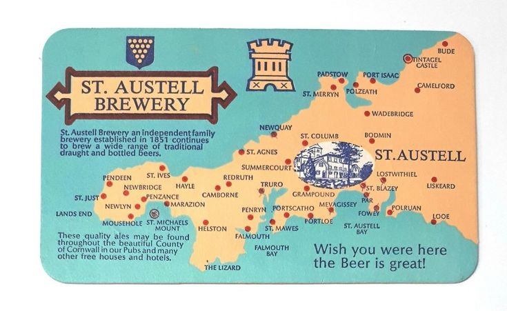 Postcard / Beer Coaster: St. Austell Brewery ~ Traditional Draught Beer Cornwall | eBay