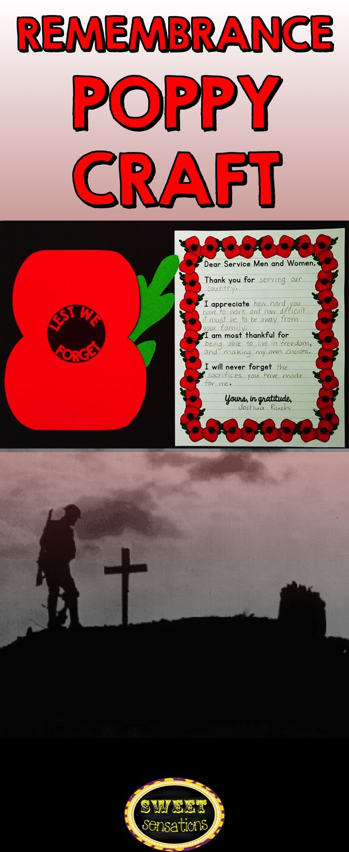 Remembrance day poppy craft for Canada - students make a simple poppy and record their gratitude on optional writing paper. Simple and powerful to remember those who sacrificed so much.