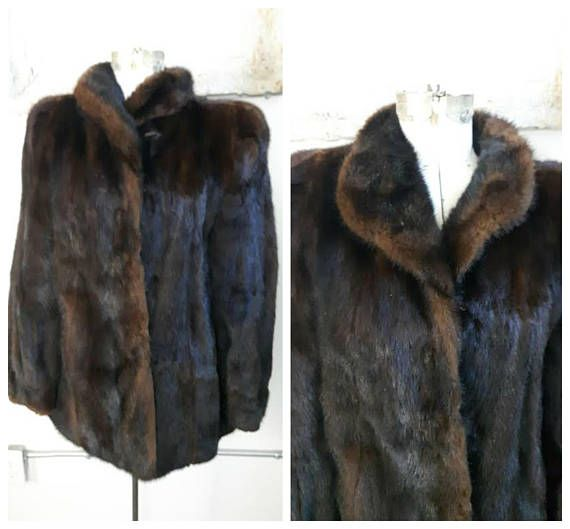 Vintage Ranch Mink Coat Car Coat Mahogany Mink