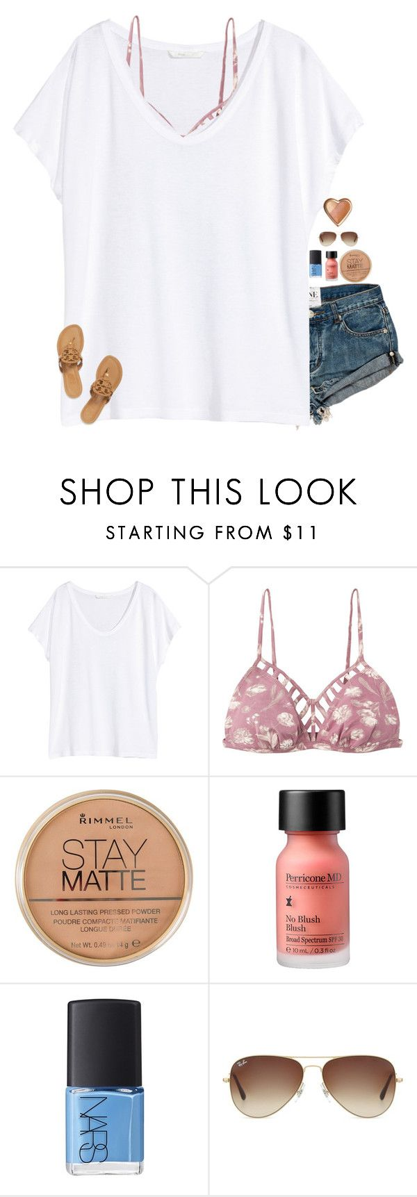 """""""bored af rn."""" by southern-belle606 ❤ liked on Polyvore featuring H&M, RVCA, Rimmel, Perricone MD, NARS Cosmetics, Ray-Ban and Tory Burch"""