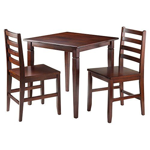 Winsome Trading Kingsgate 3 Piece Dining Table Set with Hamilton Ladder Back Chairs
