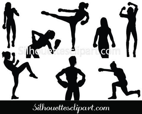 Women Boxing Silhouette Vector