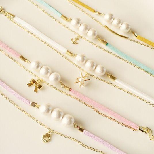 セミオーダー♡パステルカラー&コットンパール2連ブレス