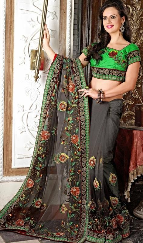 Saree Collection, Wedding Dresses, Women Dresses and tagged double shirt blouse of saree 2014, new fashion of silk sarees 2014, sarees with new designs of blou
