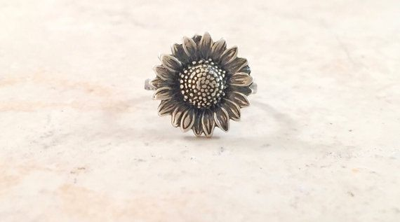 Sunflower Ring  Boho Ring  Hippie Ring  Silver by BonfireDesign