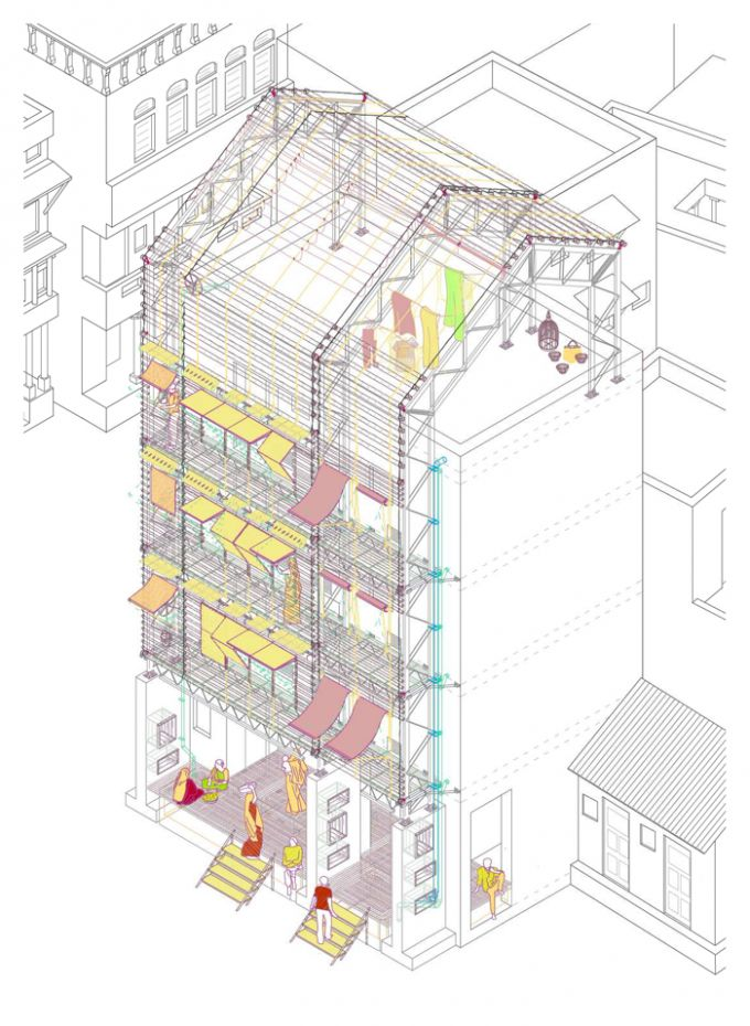 Axonometric view, study of the facade. Urban Strategies to Regenerate Indian Public Space, A case study of Pols in Ahmedabad. Courtesy of Almudena Cano Piñeiro.