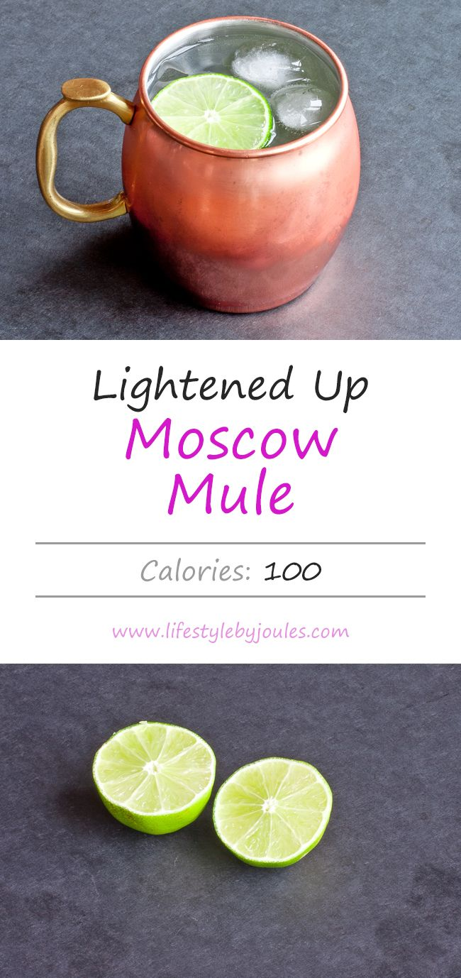 Lightened Up Moscow Mules are one of my go-to low-calorie cocktails. I used diet ginger beer instead of regular and freshly squeezed lime juice.
