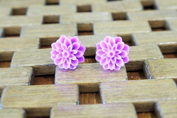 Stainless Steel 15mm Resin Flower Stud Earrings Light Purple