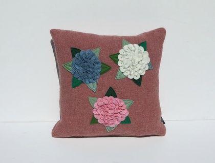 "Cushion  ""  Three Hydrangea's on Red"""