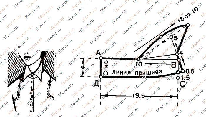 Пришивной воротник и чертеж его выкройки