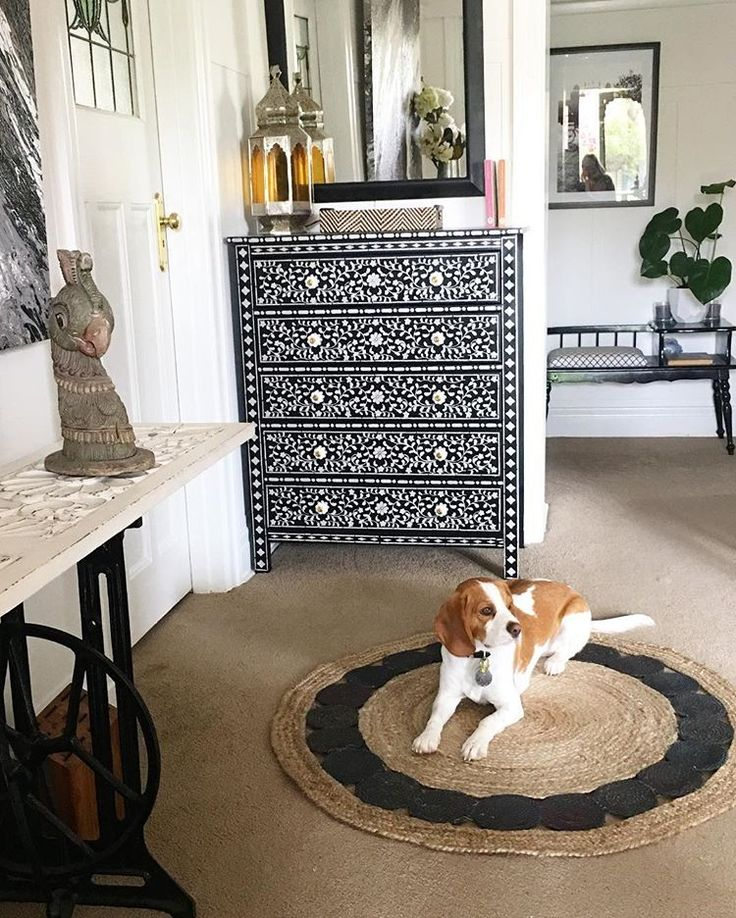 A DIY stenciled dresser given a bone inlay look using the Indian Inlay  Stencil Kit designed