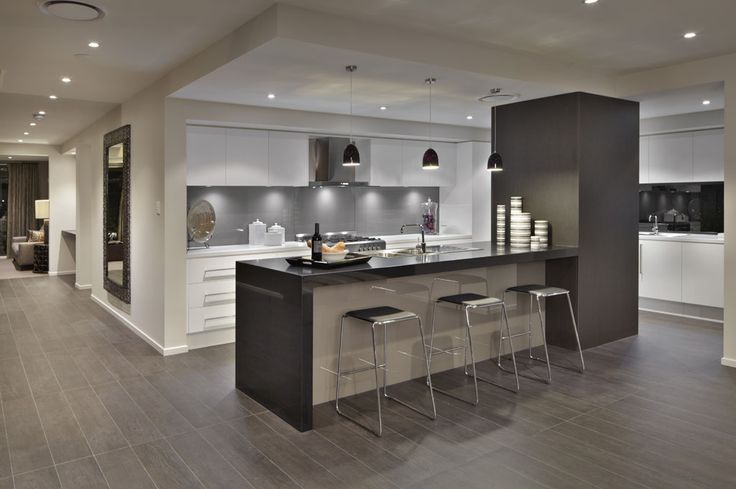 Caesarstone Jet Black kitchen by Rawson Homes http://www.caesarstone.com.au/Gallery/Kitchen.aspx