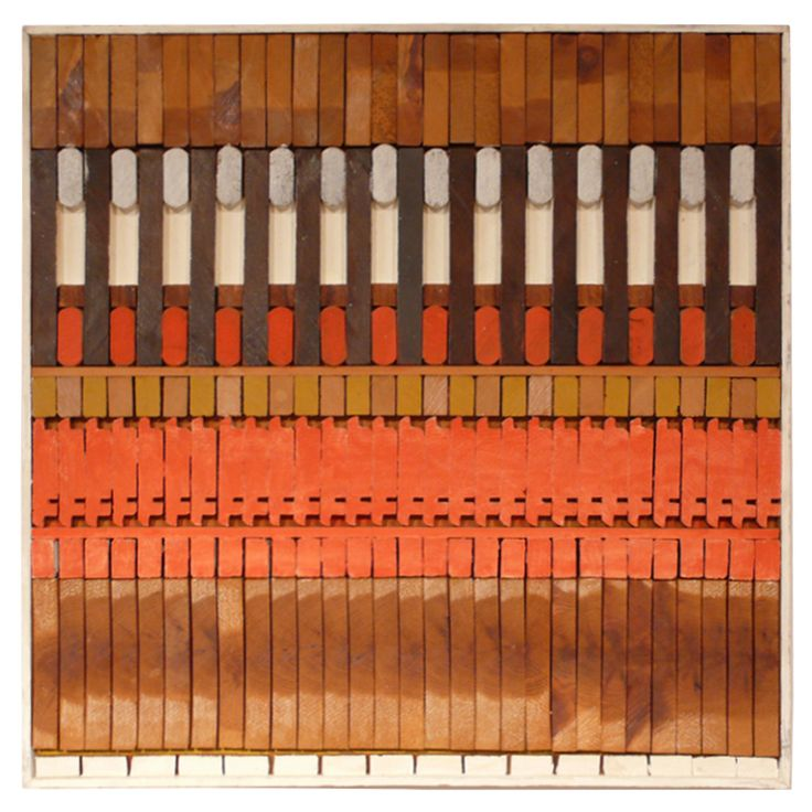 Josef Twirbutt Wall Sculpture USA c. 1970 Abstract wall relief of sawn, stained, painted, and collaged wood by Lithuanian-born American artist Josef Twirbutt. Twirbutt arrived in New York City in 1959 and plugged himself into the Village art scene. He created his wall sculptures in the 1960's and 1970's. Large-scale projects included a masonry mural at 1 Police Plaza. His work has been exhibited in galleries and shows across the country, as well as in Spain, Italy, and Mexico.