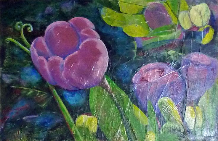 Beautiful Tulips.  This piece was painted for our living room and hangs above the sofa.