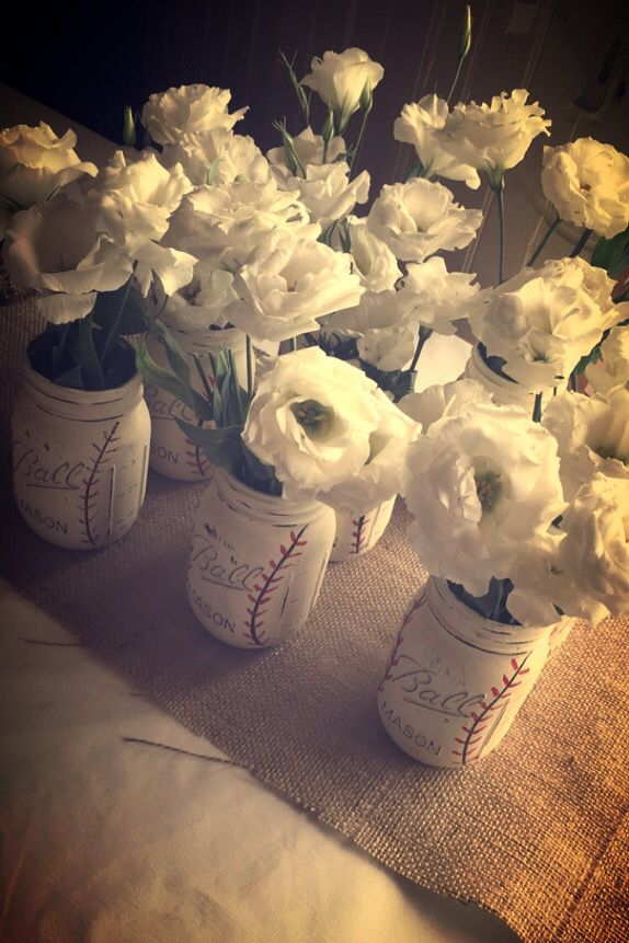 Baby Kruz! Baseball Vintage Mason Jars w/flower!
