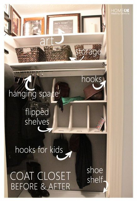 Coat Closet Organization Tips - A number of good ideas... Try putting an over-the-door pocket shoe holder on laundry room door to hold winter gloves, scarves and earmuffs.