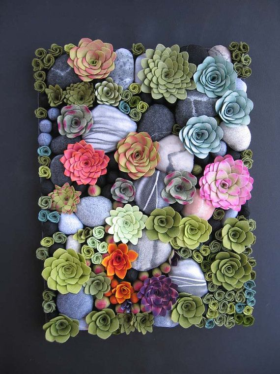 How does your garden grow Made to order succulent vertical garden felt plants arrangement custom