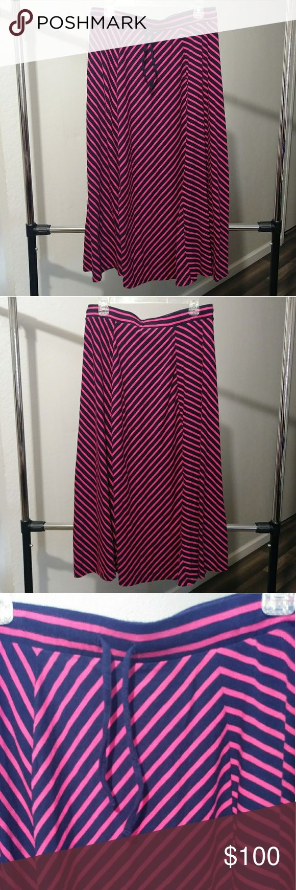 Talbots Striped Long Skirt Brand: Talbots Size: L (but can fit larger)  Navy blue and pink stripe full long skirt with drawstring front waistband. Size is L but can fit up to 1X comfortably. Talbots Skirts