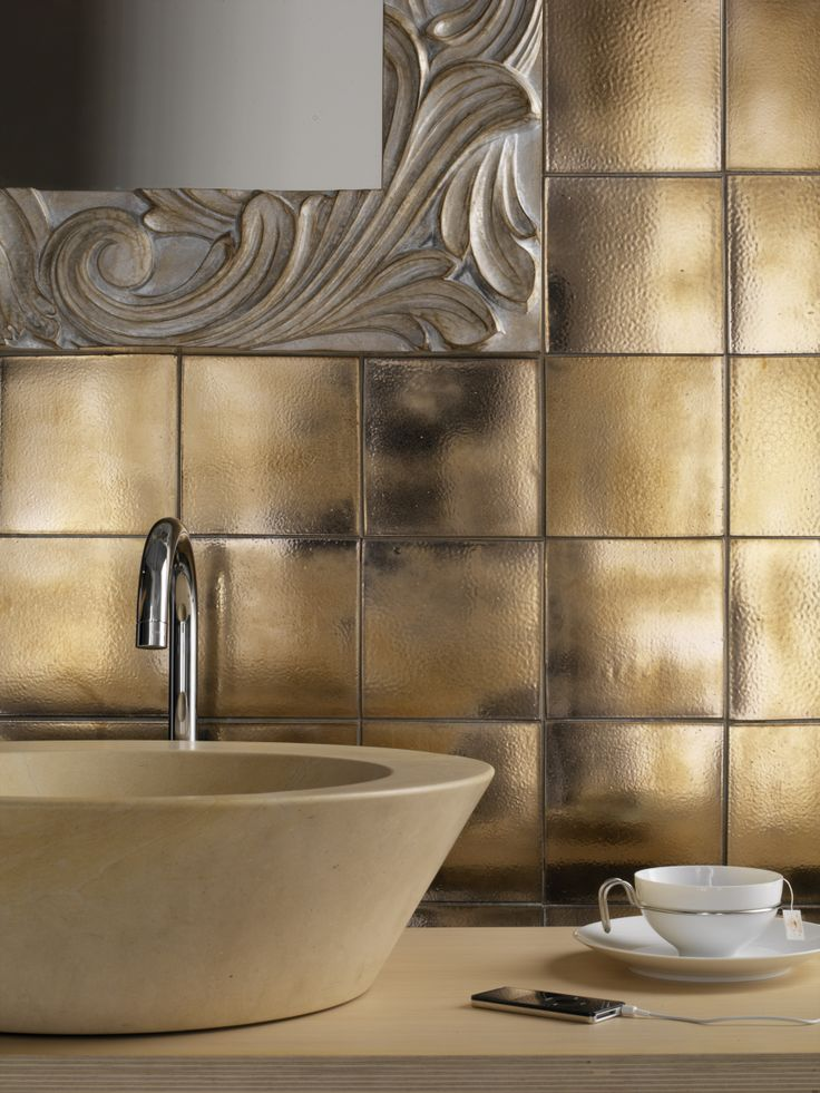 Gorgeous Gold Maiolica wall tiles