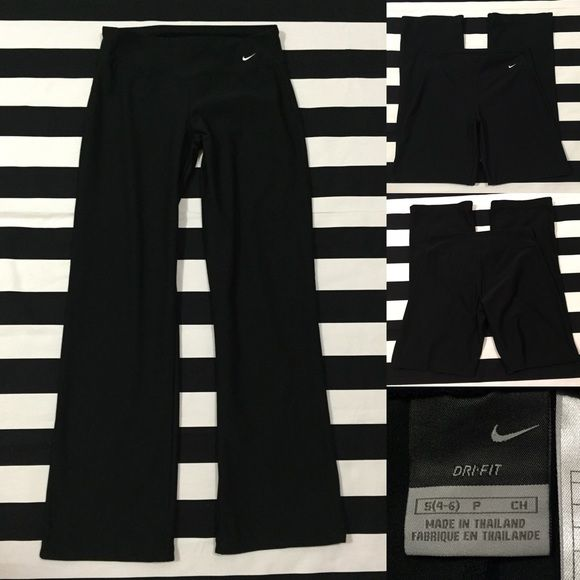 "Nike women's DRI-FIT athletic pants sz S ⚽️ Nike women's DRI-FIT athletic pants black sz S ⚽️ good used condition, material is polyester and spandex, fit is similar to a yoga pant fit,  pants are fitted around hips and thighs and then are bootcut-slightly wide leglength/inseam 30"", black with white swoosh See more of these pants (different lengths) and other Nike and athletic wear listings in my closet (sz XS-XXL-women's and men's) Nike Pants"