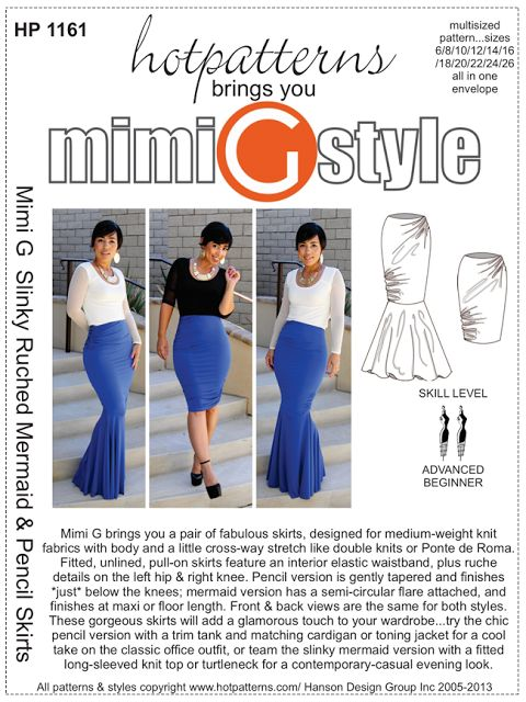 Mimi G Slinky Ruched mermaid & Pencil Skirt Pattern!