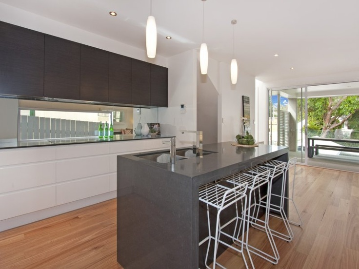 Open plan kitchen dining living modern kitchen