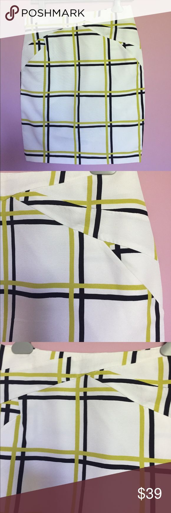 Reiss skirt Reiss pencil skirt white with green and navy stripes.  Back vent and back zipper - super styling in the seams that is a hallmark of Reiss designs. Reiss Skirts Pencil